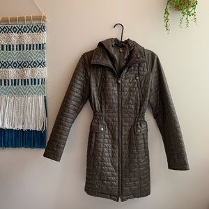 LAUNDRY Shelli Segal Taupe Hooded Quilted Jacket